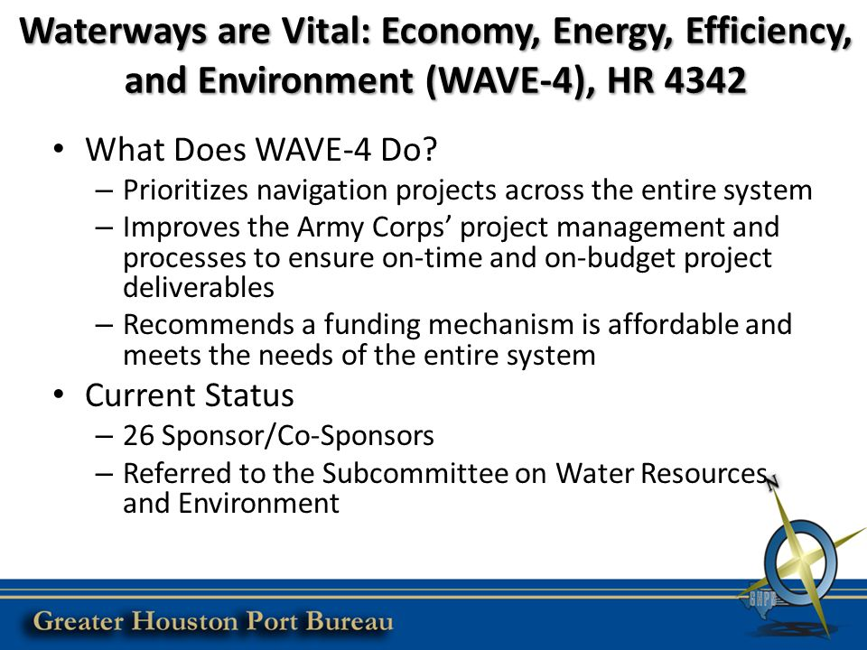 Waterways are Vital: Economy, Energy, Efficiency, and Environment (WAVE-4), HR 4342 What Does WAVE-4 Do.