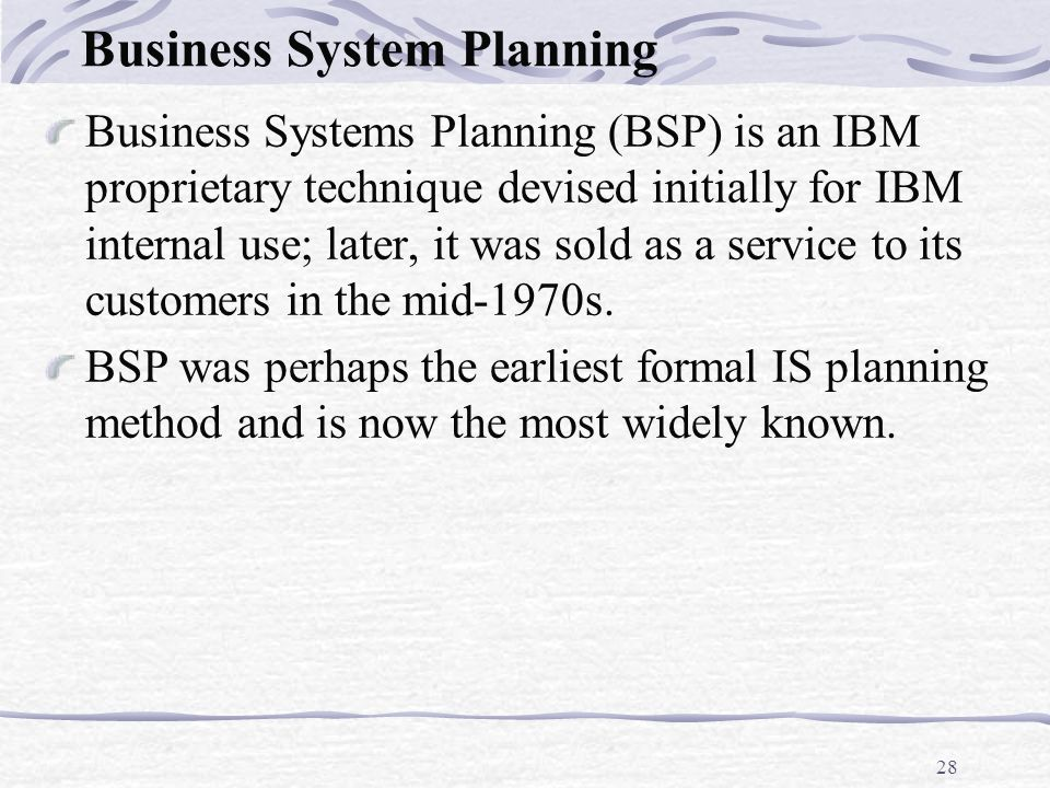 Business system planning