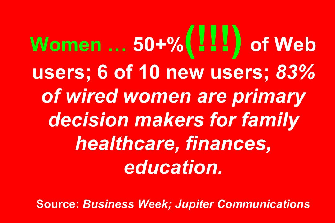 Women … 50+% (!!!) of Web users; 6 of 10 new users; 83% of wired women are primary decision makers for family healthcare, finances, education.