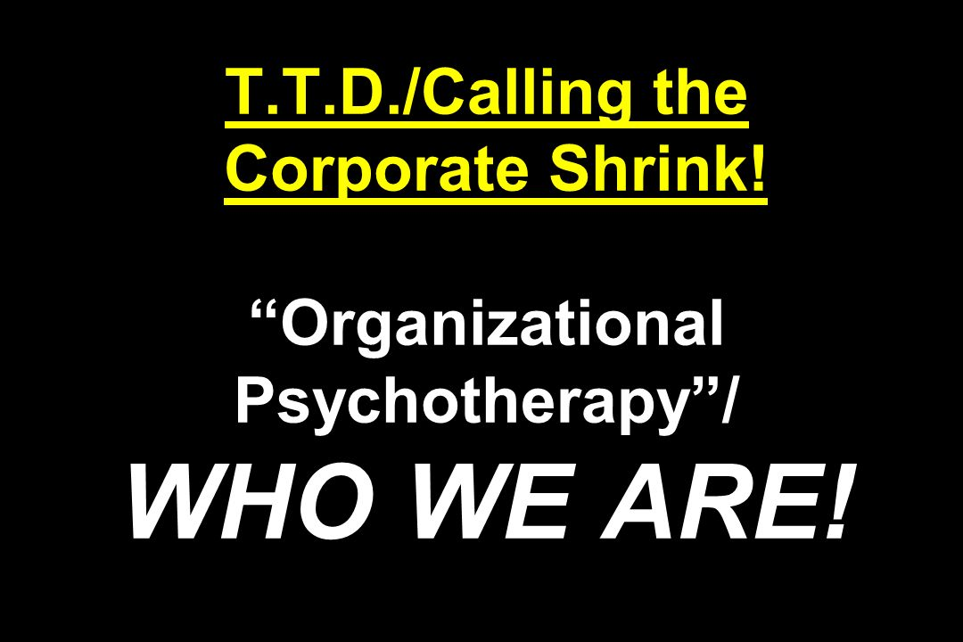 T.T.D./Calling the Corporate Shrink! Organizational Psychotherapy / WHO WE ARE!