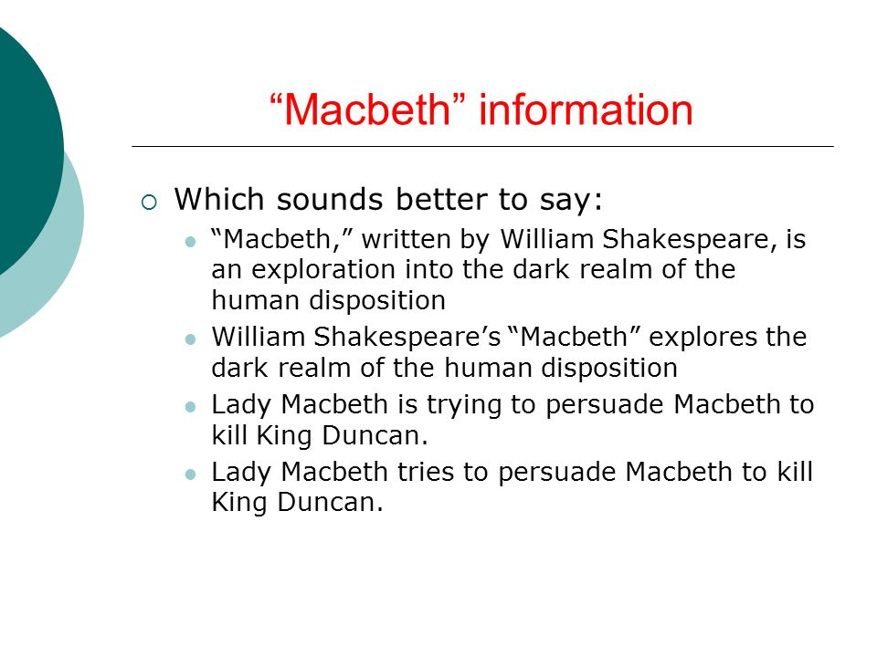 macbeth thesis ambition Thesis statement for macbeth discover how to develop numerous options to write thesis statement on macbeth.