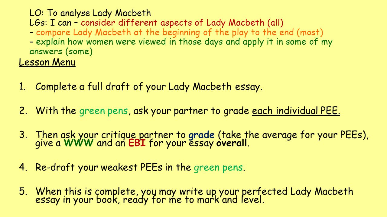 lady macbeth essay thesis Macbeth study guide contains a biography of william shakespeare, literature essays, a complete e-text, quiz questions, major themes, characters, and a full summary and analysis.