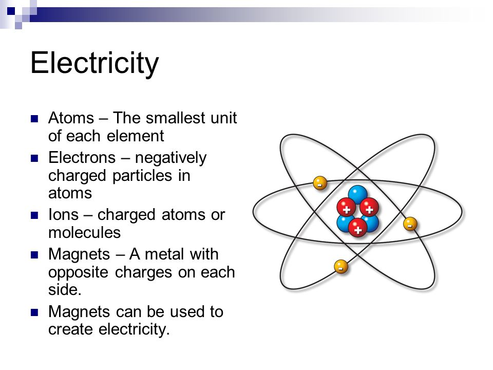 Electricity Atoms – The smallest unit of each element Electrons – negatively charged particles in atoms Ions – charged atoms or molecules Magnets – A metal with opposite charges on each side.