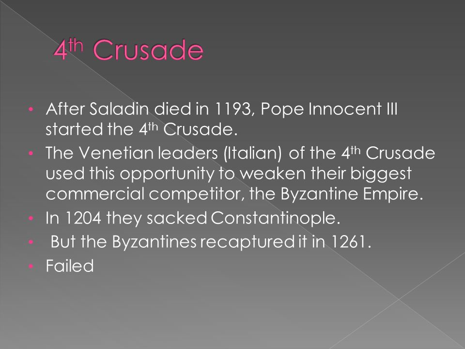After Saladin died in 1193, Pope Innocent III started the 4 th Crusade.