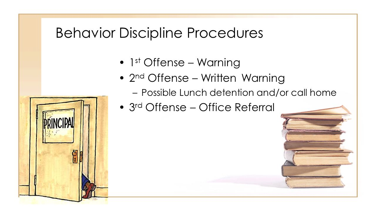 Behavior Discipline Procedures 1 st Offense – Warning 2 nd Offense – Written Warning –Possible Lunch detention and/or call home 3 rd Offense – Office Referral