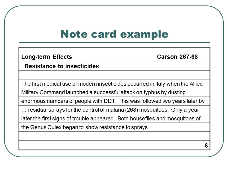 Format For Research Paper Note Cards Mla