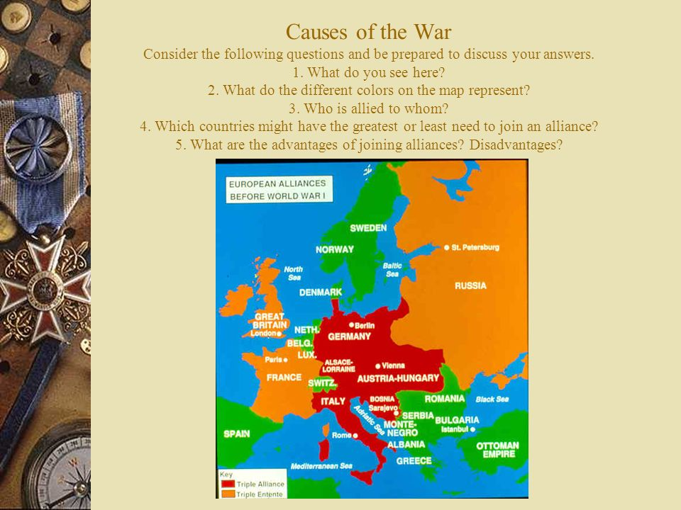 The first world war european tensions ignited world history ppt causes of the war consider the following questions and be prepared to discuss your answers gumiabroncs Gallery
