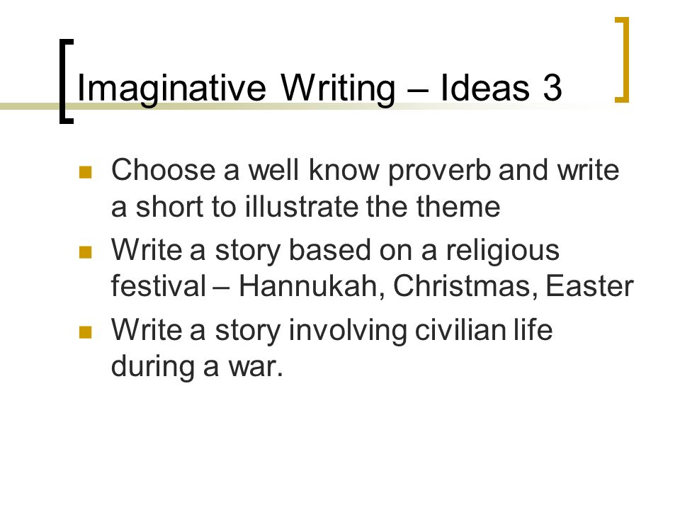 imaginative writing Scholastic's story starters kids' writing activity generates creative writing prompts, from general fiction to adventure, fantasy, and science fiction.