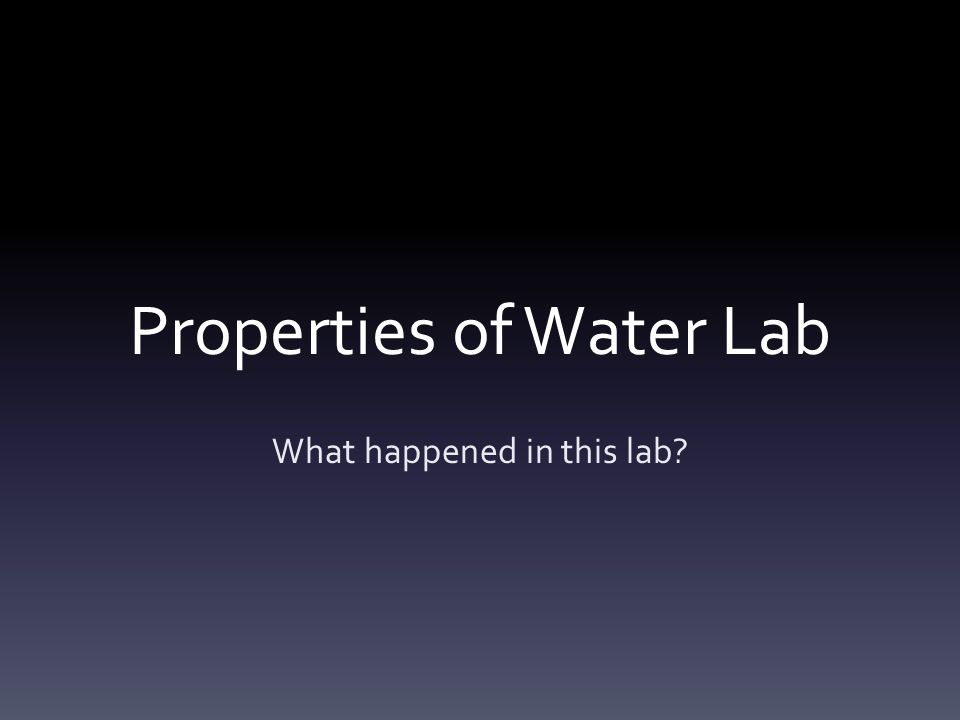 Properties of Water Lab What happened in this lab