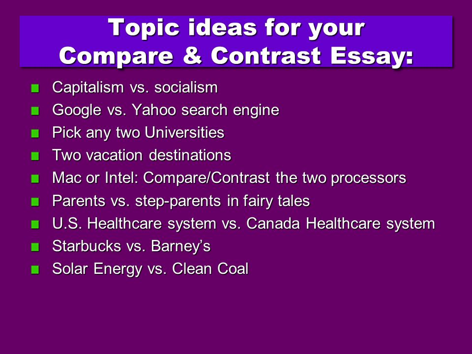 compare contrast expository essays Exploring compare and contrast structure in expository and contrast readwritethink's comparison and compare & contrast map to plan an essay about.