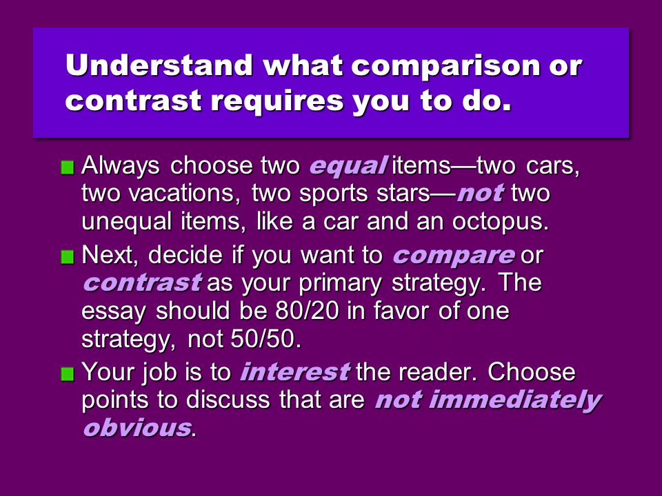points comparison compare contrast essay How to write a compare and contrast essay outline: a point-by-point organization by point-by-point, we merely mean a comparison that compare and contrast essays.