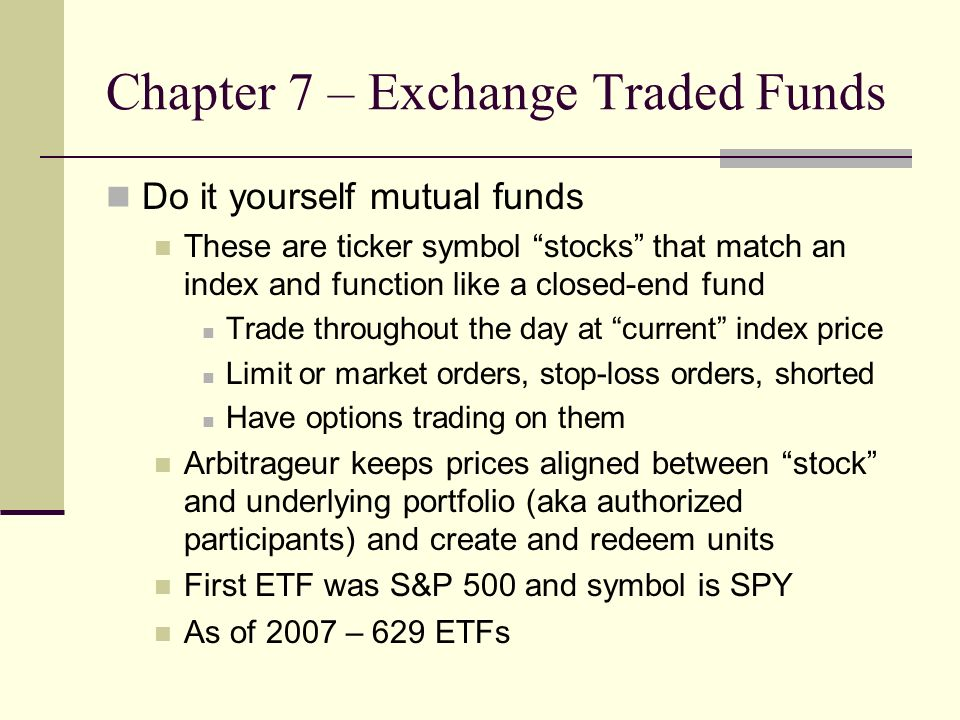 Chapter 7 Investment Companies Ba 543 Financial Markets And