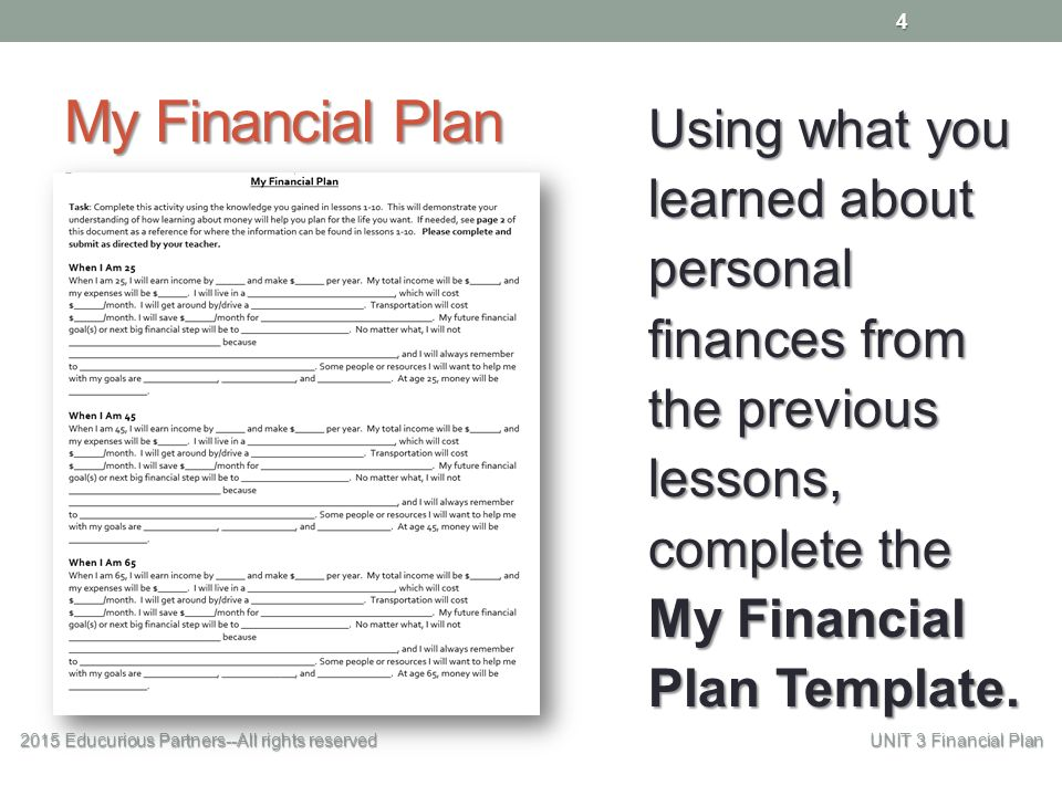 My Financial Plan  Educurious PartnersAll Rights Reserved Unit