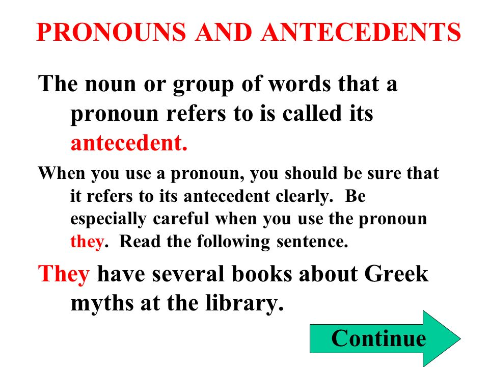 PRONOUNS AND ANTECEDENTS The noun or group of words that a pronoun refers to is called its antecedent.