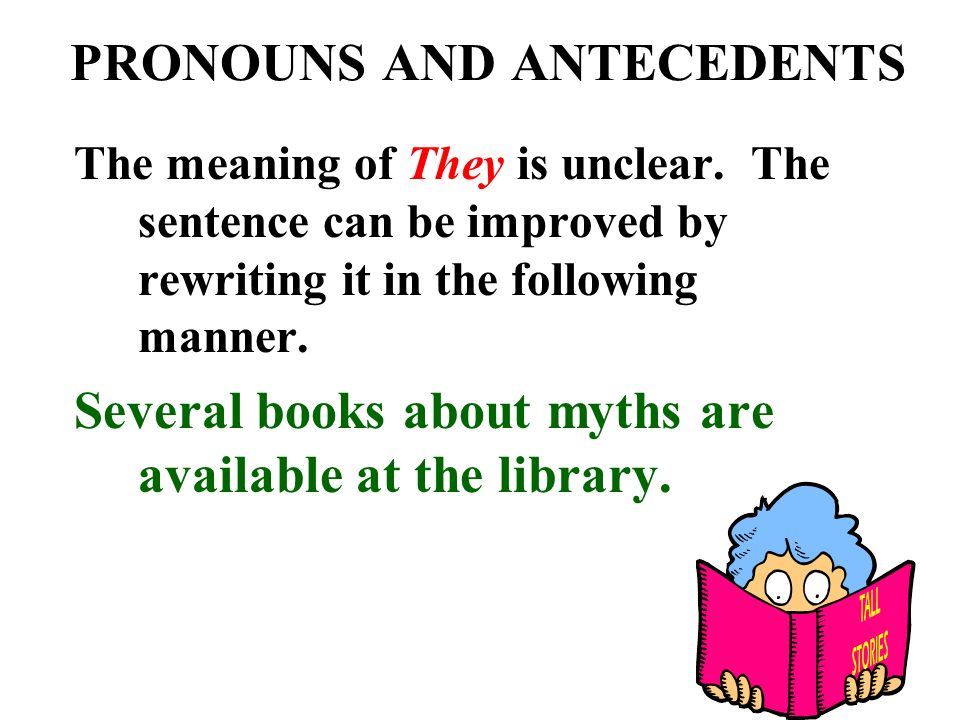 PRONOUNS AND ANTECEDENTS The meaning of They is unclear.
