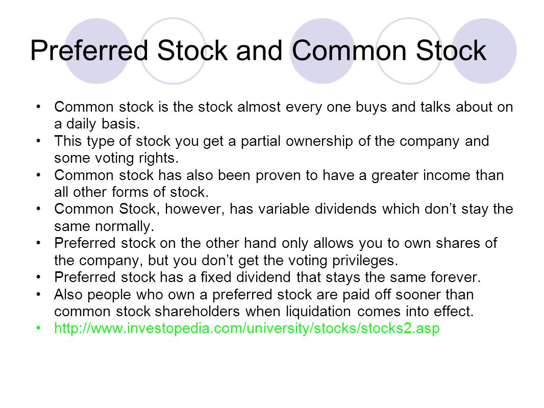 Preferred Stock and Common Stock Common stock is the stock almost every one buys and talks about on a daily basis.