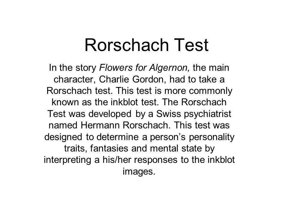 rorschach test in the story flowers for algernon the main  rorschach test in the story flowers for algernon the main character charlie gordon