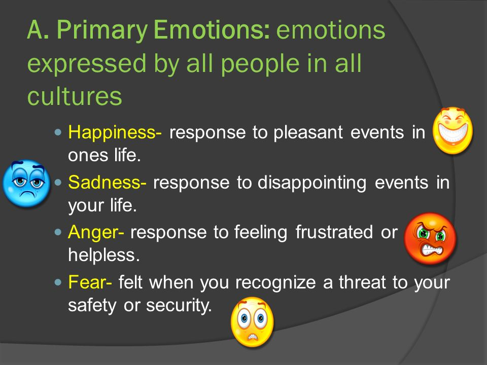 A. Primary Emotions: emotions expressed by all people in all cultures Happiness- response to pleasant events in ones life. Sadness- response to disapp