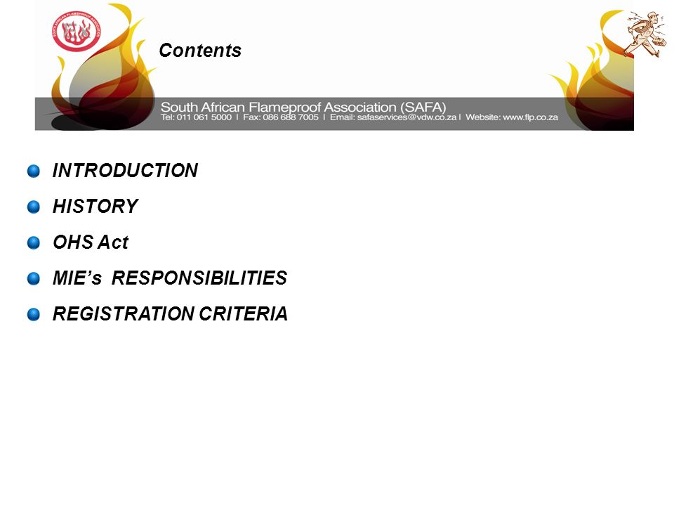 2 contents introduction history ohs act mies responsibilities registration criteria - Responsibilities Of An Electrician