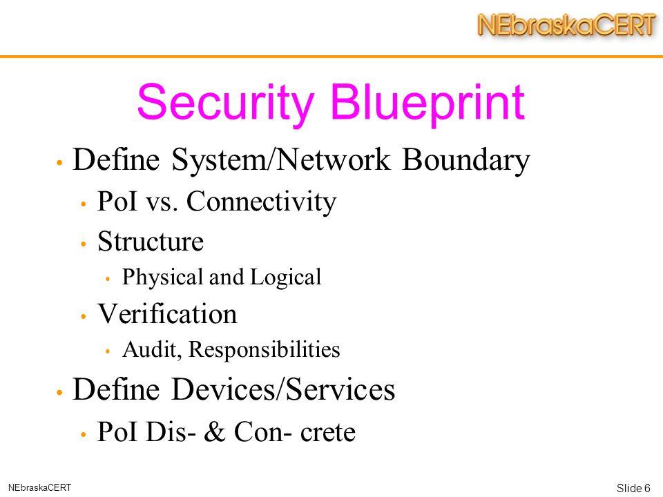 Slide 1 nebraskacert managing secure networks matthew g marsh 6 slide 6 nebraskacert security blueprint define malvernweather Images