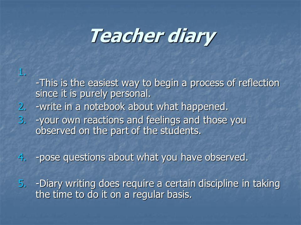 Teacher diary 1.