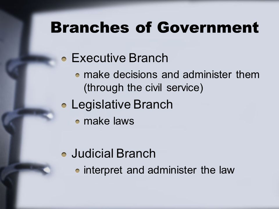 Branches of Government Executive Branch make decisions and administer them (through the civil service) Legislative Branch make laws Judicial Branch interpret and administer the law
