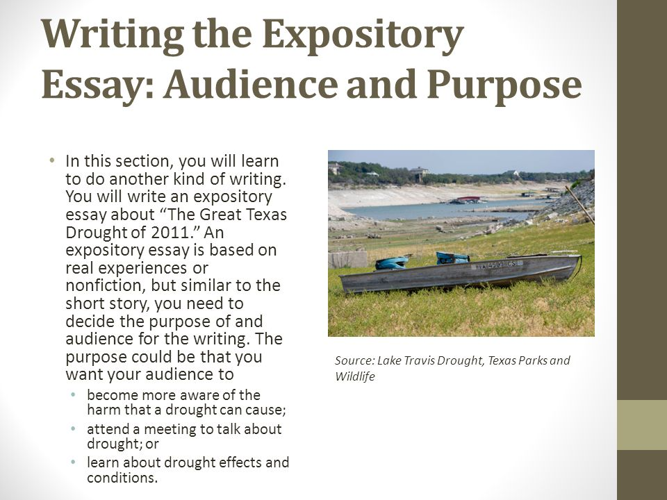 Writing the Expository Essay: Audience and Purpose In this section, you will learn to do another kind of writing.