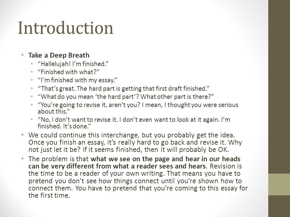 Introduction Take a Deep Breath Hallelujah.