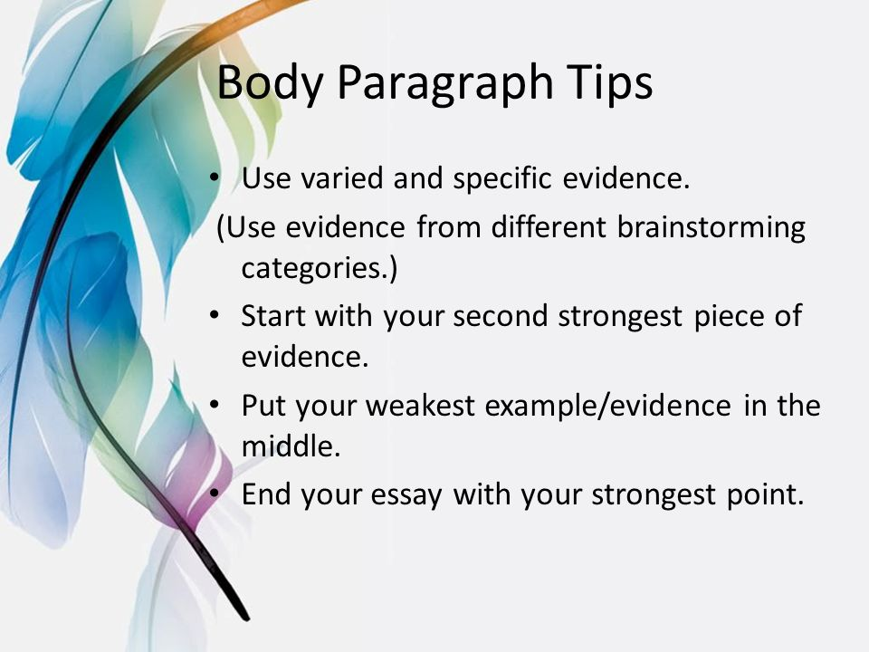 write good body paragraph essay Creating an elaborate entrance essay body paragraphs your entrance essay is different than any of the other academic papers that you may have written in high school.