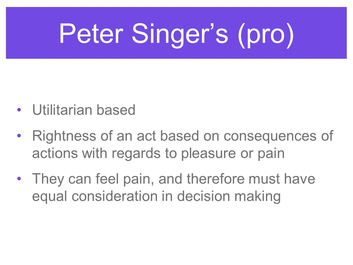 peter singer equality for animals Equity, speciesism, argument - equality in peter singer´s all animals are equal.