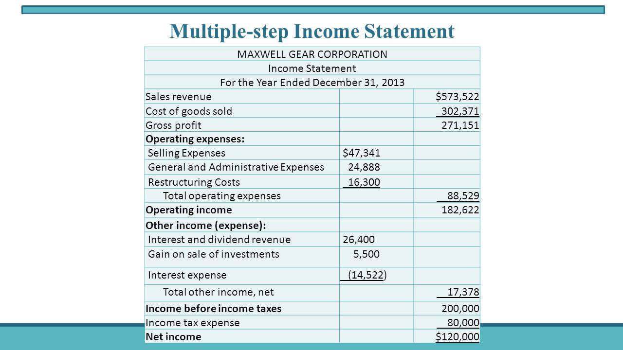 income expense statement
