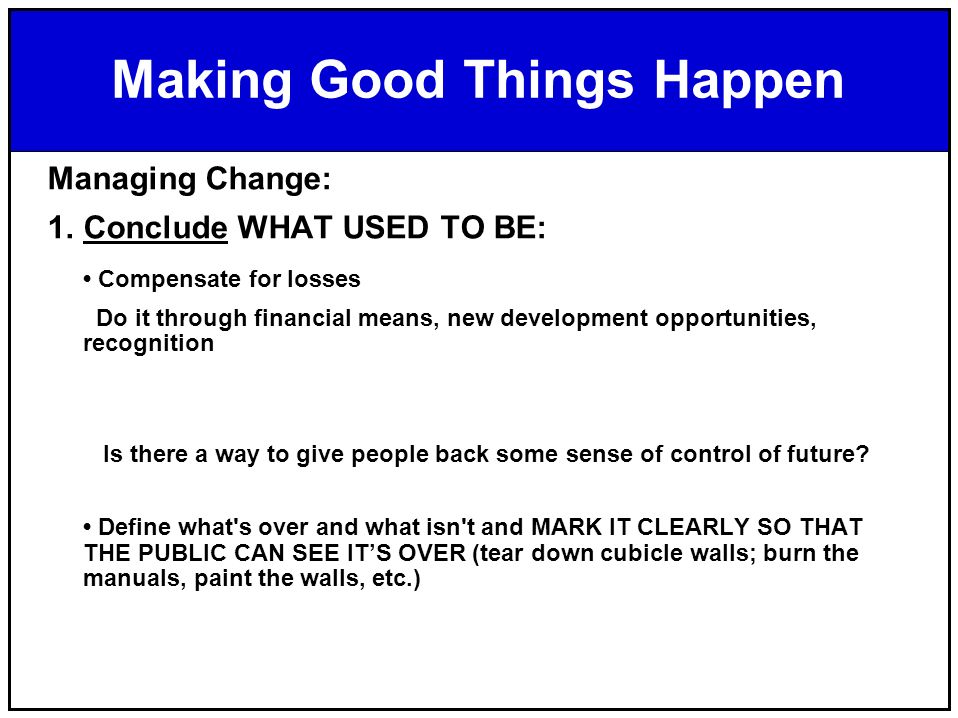 managing change conclusion
