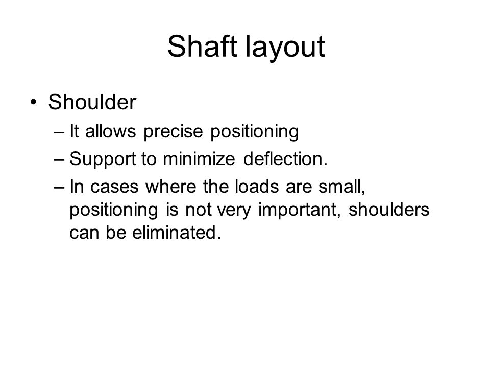 Shaft layout Shoulder –It allows precise positioning –Support to minimize deflection.
