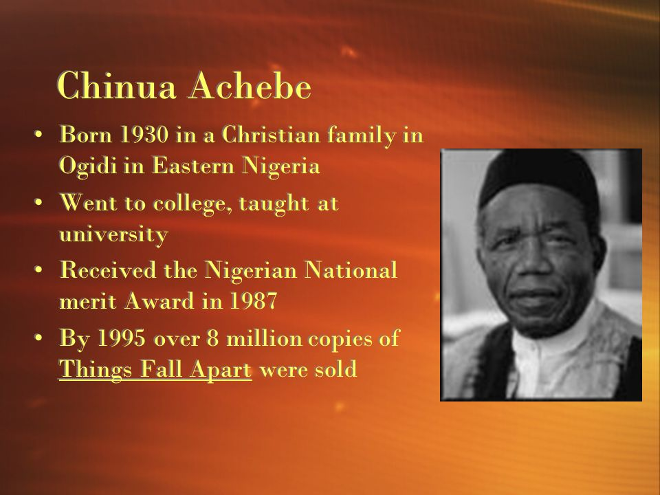 psychoanalysis chinua achebe Hi binita,your presentation on the topic of psychological study of things fall apart includes all the points of your topichence it is interesting chinua achebe.