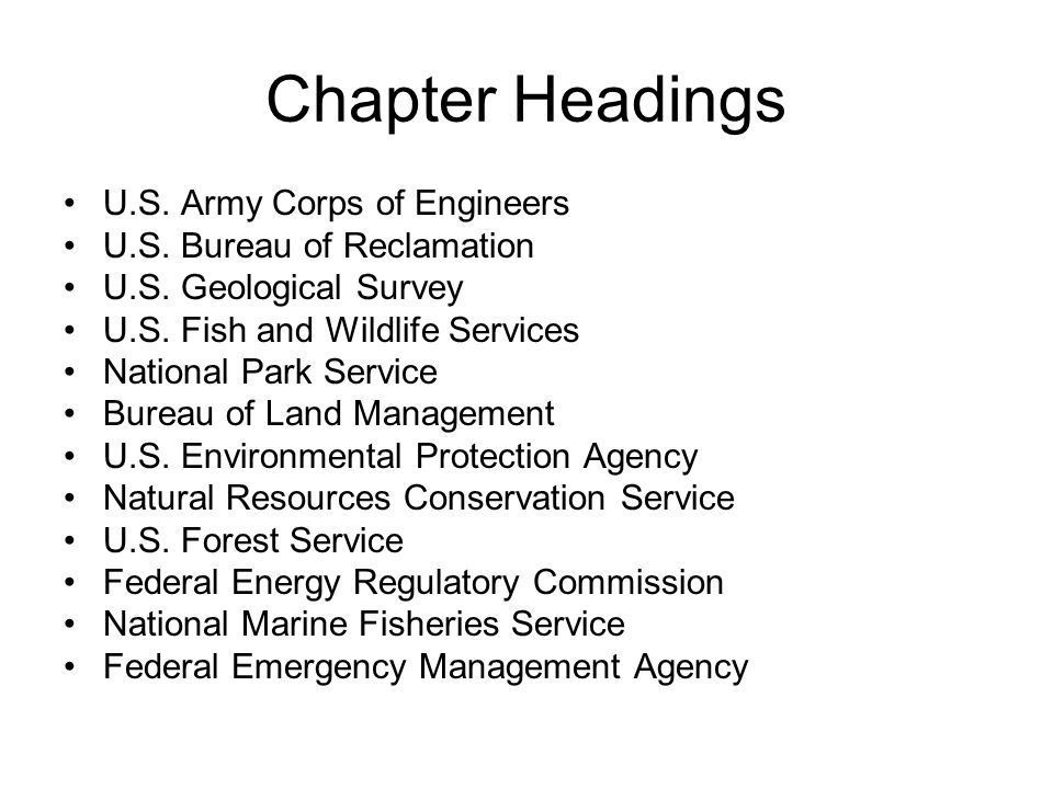 Chapter 9 Federal Water Agencies Chapter Headings US Army Corps