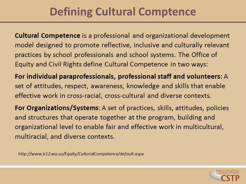 Defining Cultural Comptence Cultural Competence is a professional and organizational development model designed to promote reflective, inclusive and c