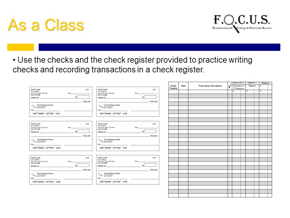 Online check writing practice