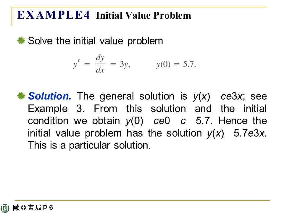 歐亞書局 P E X A M P L E 4 Initial Value Problem Solve the initial value problem Solution.