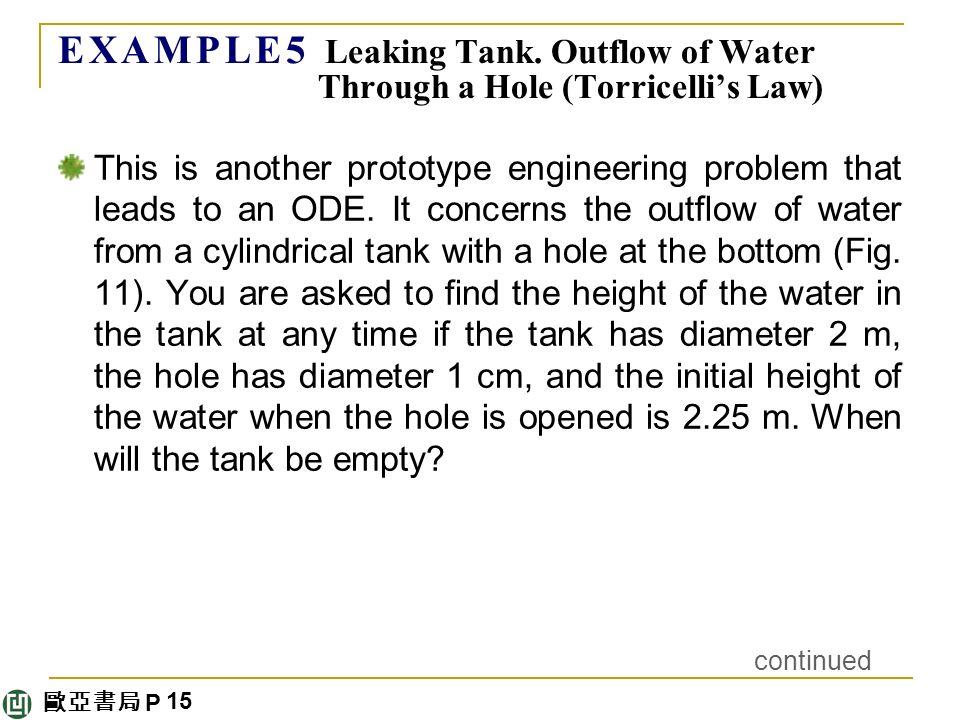 歐亞書局 P E X A M P L E 5 Leaking Tank.