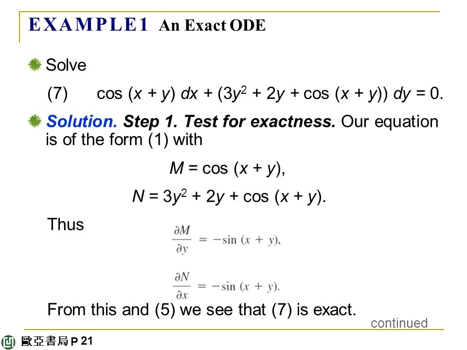 歐亞書局 P E X A M P L E 1 An Exact ODE Solve (7) cos (x + y) dx + (3y 2 + 2y + cos (x + y)) dy = 0.