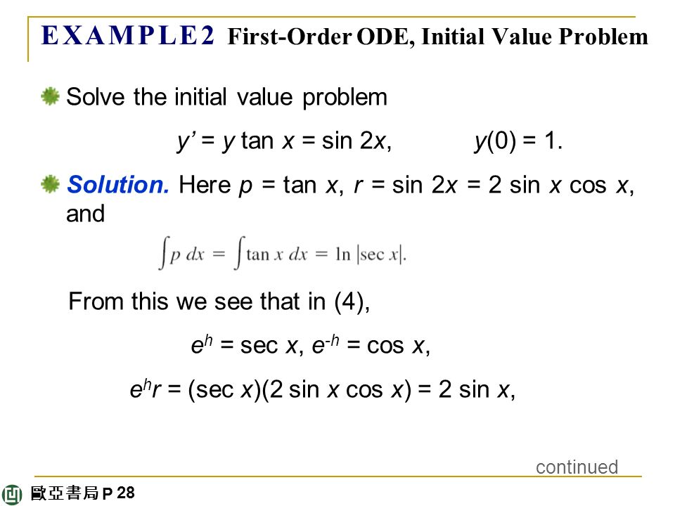 歐亞書局 P E X A M P L E 2 First-Order ODE, Initial Value Problem Solve the initial value problem y' = y tan x = sin 2x, y(0) = 1.