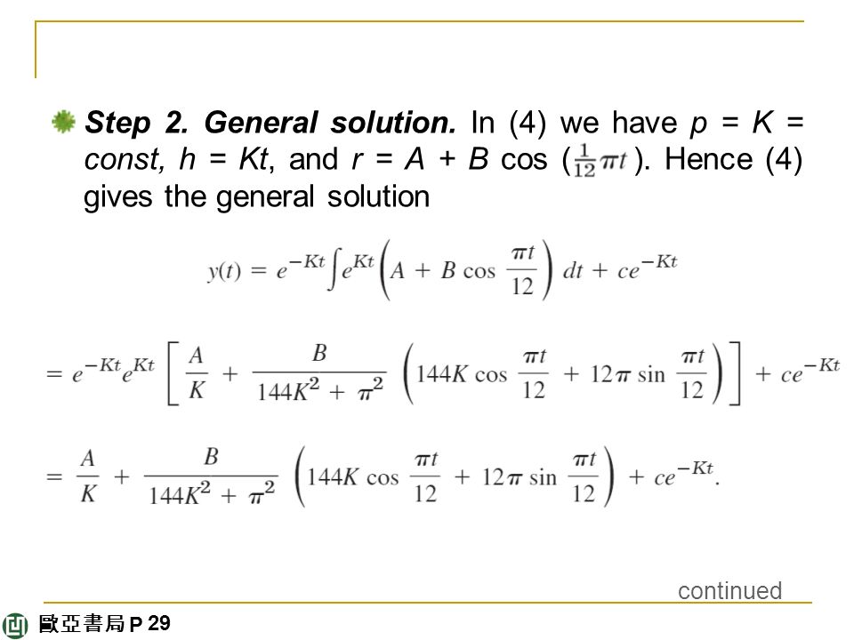 歐亞書局 P Step 2. General solution. In (4) we have p = K = const, h = Kt, and r = A + B cos ( ).