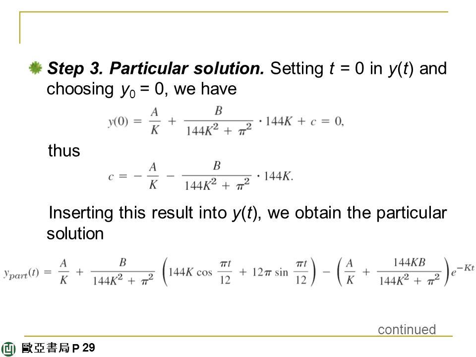 歐亞書局 P Step 3. Particular solution.