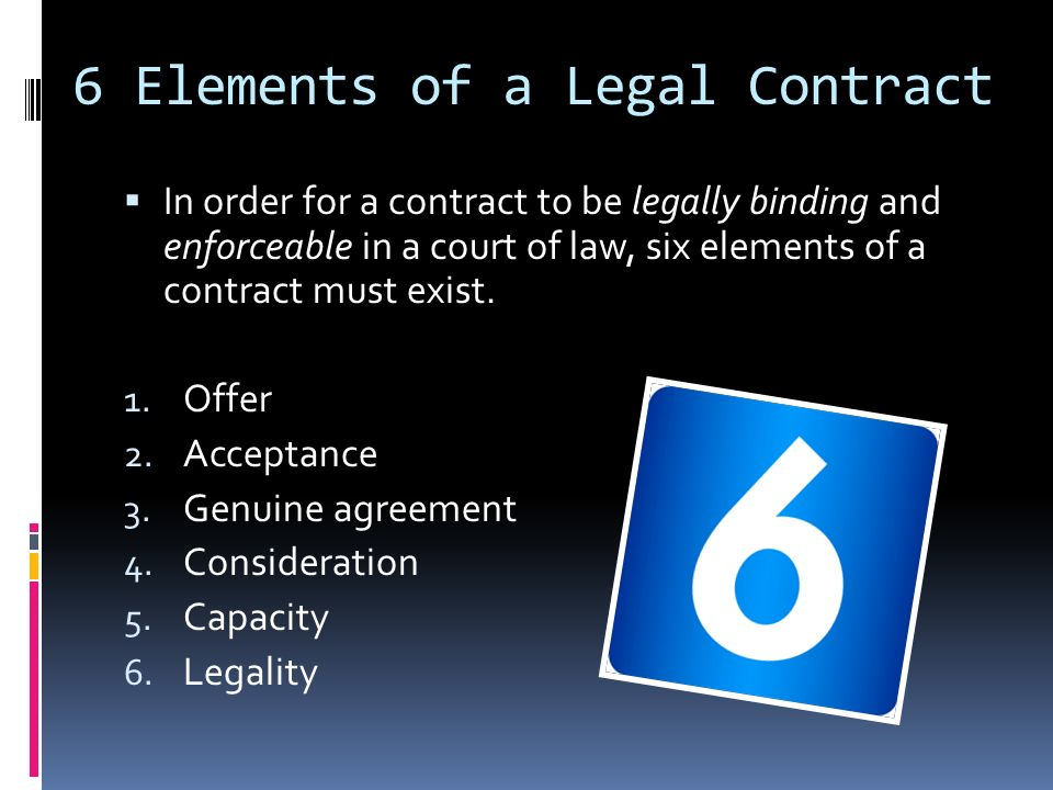elements of a contract The elements of a valid contract, and issues pertaining to the validity and enforceability of oral contracts.