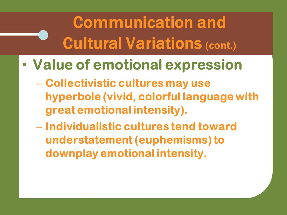 Communication and Cultural Variations (cont.) Value of emotional expression – Collectivistic cultures may use hyperbole (vivid, colorful language with
