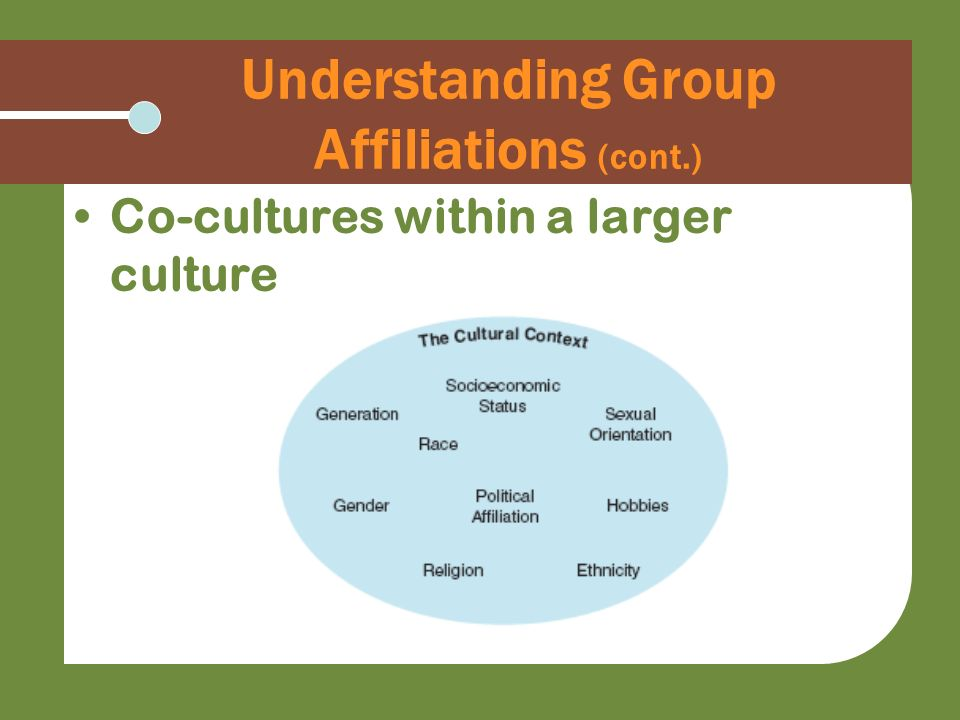 Understanding Group Affiliations (cont.) Co-cultures within a larger culture