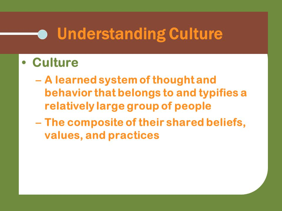 Understanding Culture Culture –A learned system of thought and behavior that belongs to and typifies a relatively large group of people –The composite