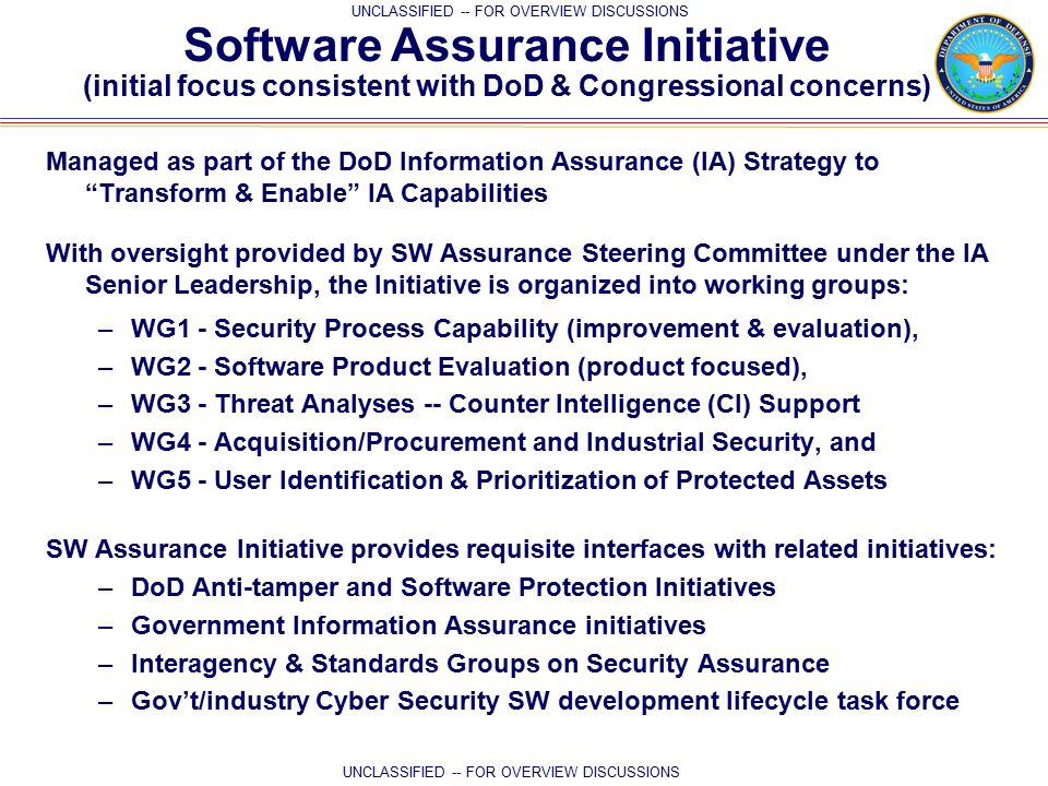 Dod software assurance initiative mitigating risks attributable 5 unclassified pronofoot35fo Image collections