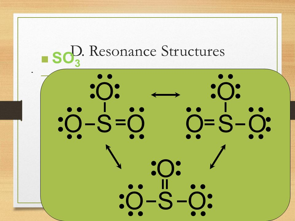 D. Resonance Structures C. Johannesson O O S O O O S O O O S O n SO 3