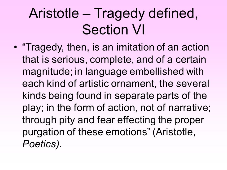 aristotles distinction between tragedy and apic This paper provides an overview and commentary of aristotle's theory of poetry, of drama, and of narrative structure, as presented the poetics the main emphasis falls on plot structure, but we expound other important subjects dealt with in the.